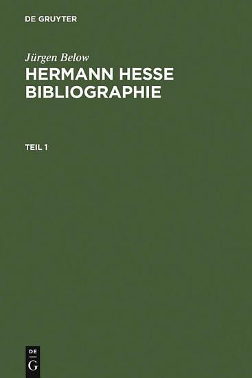 Hermann Hesse Bibliographie PDF