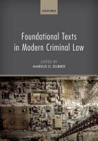 Foundational Texts in Modern Criminal Law PDF