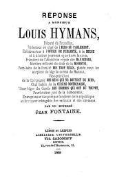 Réponse à Monsieur Louis Hymans