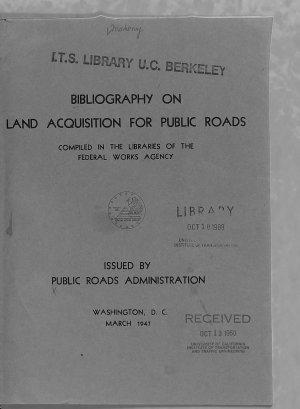 Bibliography on Land Acquisition for Public Roads PDF