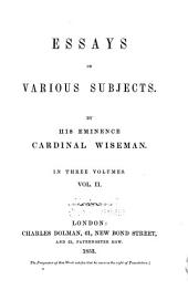 Essays on Various Subjects: Volume 2