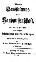 Allgemeine Haushaltungs  und Landwissenschaft PDF