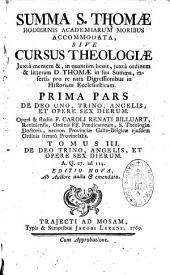 Summa S. Thomae Aquinatis hodiernis Academiarum moribus accommodata