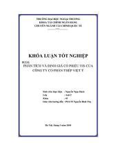 Đề tài Phân tích và định giá cổ phiếu VIS của công ty cổ phần thép Việt Ý: Luận Văn