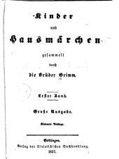 Kinder und hausmärchen: gesammelt durch die Brüder Grimm, Bände 1-2