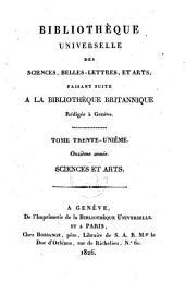 Bibliothèque universelle des sciences, belles-lettres et arts, faisant suite à la Bibliothèque Britannique: Sciences et arts, Volume15