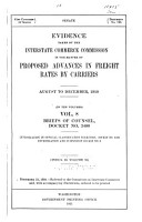 Evidence Taken by the Interstate Commerce Commission in the Matter of Proposed Advances in Freight Rates by Carriers PDF