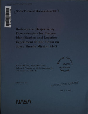 Radiometric Responsivity Determination for Feature Identification and Location Experiment  FILE  Flown on Space Shuttle Mission 41 G