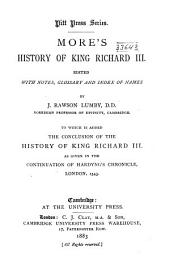 More's History of King Richard III: Edited with Notes, Glossary and Index of Names