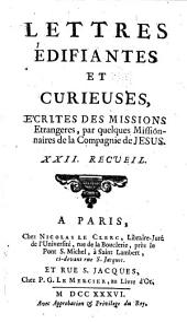 Lettres edifiantes et curieuses: ecrite des missions etrangères, Volume22
