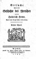 Versuche über die Geschichte des Menschen von Heinrich Home aus dem Englischen übersetzt [von Anton Ernst Klausing]