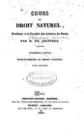 Cours de droit naturel: (Année classique 1833-1834) 1e-12e leçon. 1834