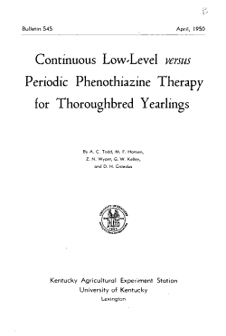 Continuous Low level Versus Periodic Phenothiazine Therapy for Thoroughbred Yearlings PDF