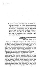 Bespreking van Handboek van den vroegsten bloei der Nederlandsche letterkunde of proeven uit Nederlandsche schriften der dertiende en veertiende eeuw, met inleidingen, aanstippingen over de spaakleer en den stijl van dien tijd, een klein woordenboek, enz