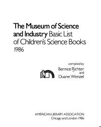 The Museum of Science and Industry Basic List of Children s Science Books PDF