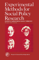Experimental Methods for Social Policy Research