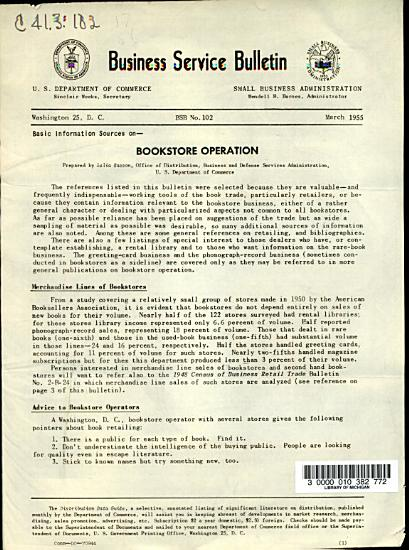 Basic Information Sources on Bookstore Operation PDF