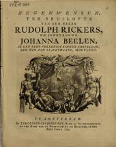 Zegenwensch, ter bruilofte van den heere Rudolph Rickers, en jonkvrouwe Johanna Beelen