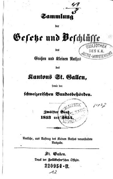 Sammlung der Gesetze und Beschl  sse des Gro  en und Kleinen Raths des Kantons St  Gallen