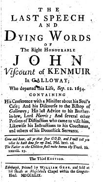The Last Speech and Dying Words of the Right Honourable John Viscount of Kenmuir in Galloway  who Departed this Life  Sep  12  1634      PDF
