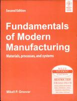 Fundamentals Of Modern Manufacturing  Materials Processes  And Systems  2Nd Ed PDF