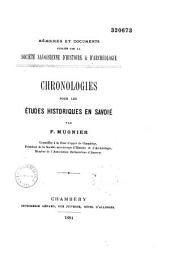 Chronologies pour les études historiques en Savoie