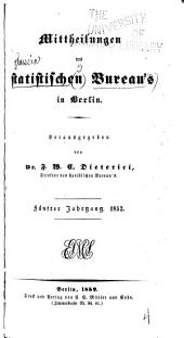Mittheilungen des Statistischen bureau's in Berlin: Band 5