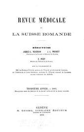 Revue médicale de la Suisse romande: Volume3