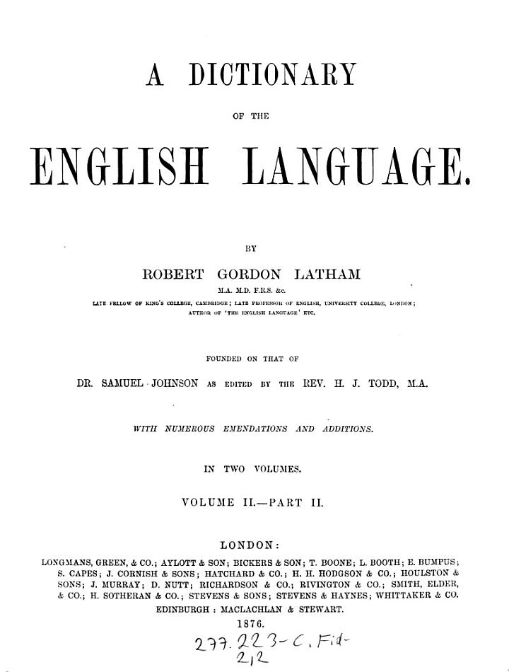 """""""A"""" Dictionary of the English Language"""