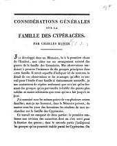 Considérations générales sur la famille de cypéracées