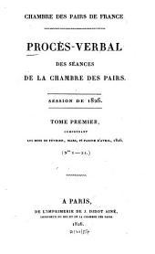 Procès-verbal des séances de la Chambre des Pairs: 1826,1