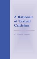 A Rationale of Textual Criticism PDF