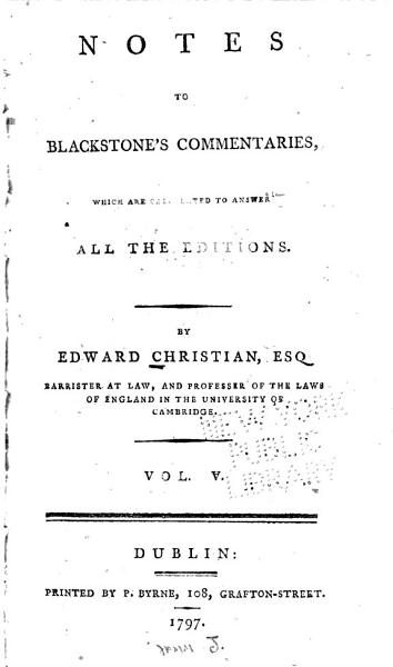 Notes to Blackstone's Commentaries