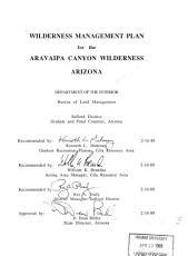 Wilderness Management Plan for the Aravaipa Canyon Wilderness  Arizona PDF
