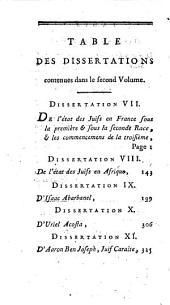 Dissertations critiques pour servir d'éclaircissemens a l'histoire des Juifs: Volume2