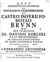 Commentatio hist. ad privilegium Norimbergense de castro Imperii forestali Brunn