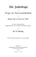 Die Judenfrage als Frage der Racensch  dlichkeit f  r Existenz  Sitte und Cultur der V  lker PDF