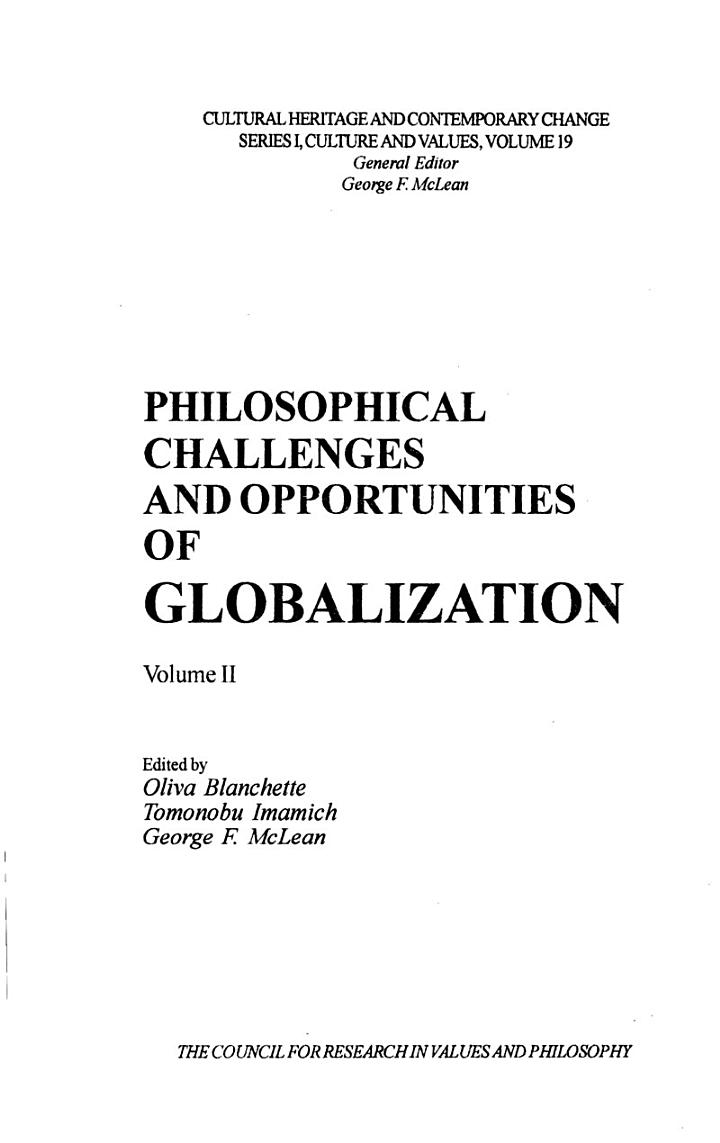 Philosophical Challenges and Opportunities of Globalization