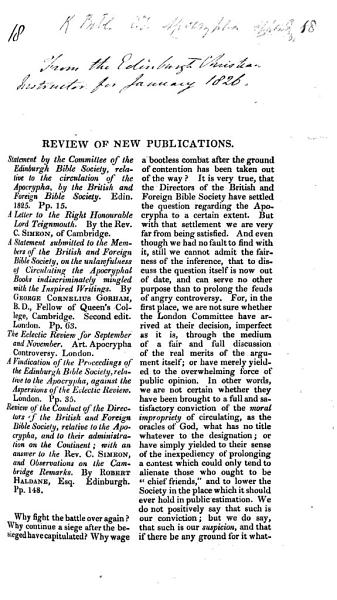Review Of The Apocrypha Controversy Pp 31 59 Of The Edinburgh Christian Instructor For January 1826