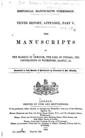 The Manuscripts of the Marquis of Ormonde, the Earl of Fingall, the Corporations of Waterford, Galway, &c