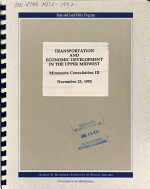 Transportation and Economic Development in the Upper Midwest PDF