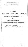 Nouveau dictionnaire de poche fran  ais allemand et allemand fran  ais     PDF