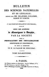 Bulletin des sciences naturelles et de géologie: Volumes17à18