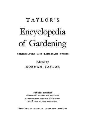 Taylor s Encyclopedia of Gardening