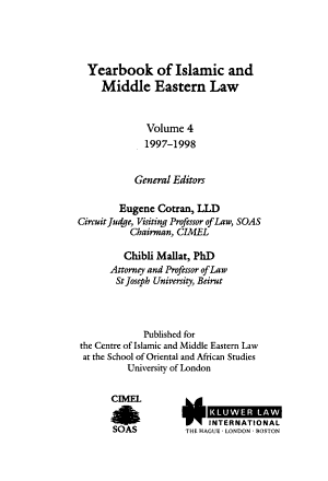 Yearbook of Islamic and Middle Eastern Law PDF