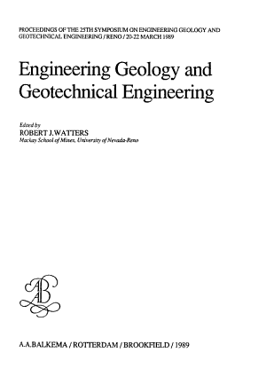 Engineering Geology and Geotechnical Engineering PDF