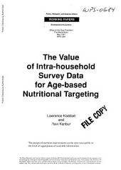 The Value of Intra-household Survey Data for Age-based Nutritional Targeting