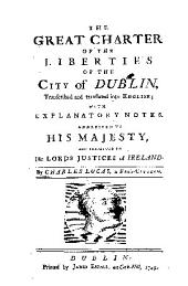 The Great Charter of the Liberties of the City of Dublin