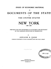 Index of Economic Material in Documents of the States of the United States: New York, 1789-1904