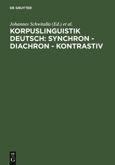 Korpuslinguistik deutsch  synchron   diachron   kontrastiv PDF